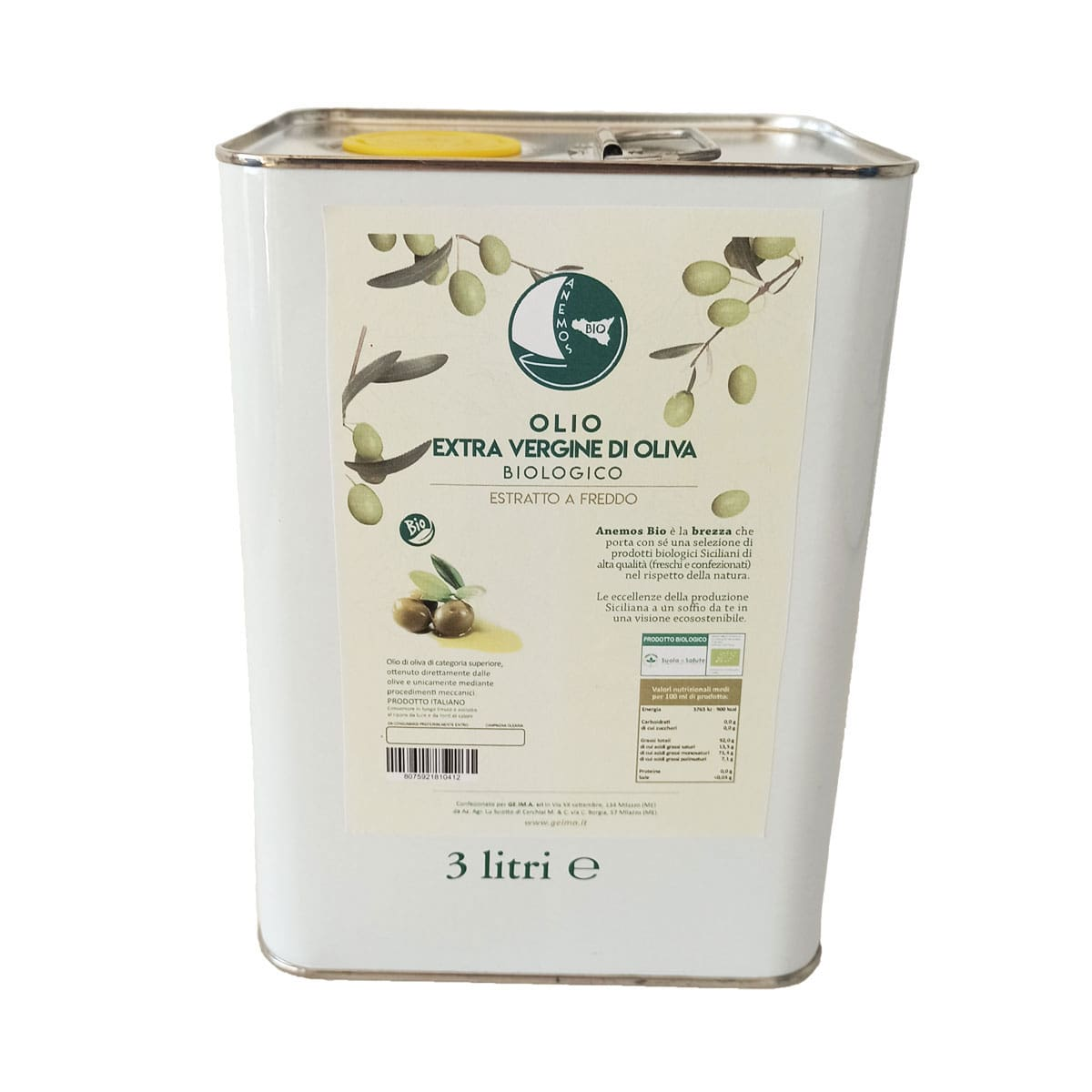 Anemos Bio Extra Virgin Olive Oil 3 Litres