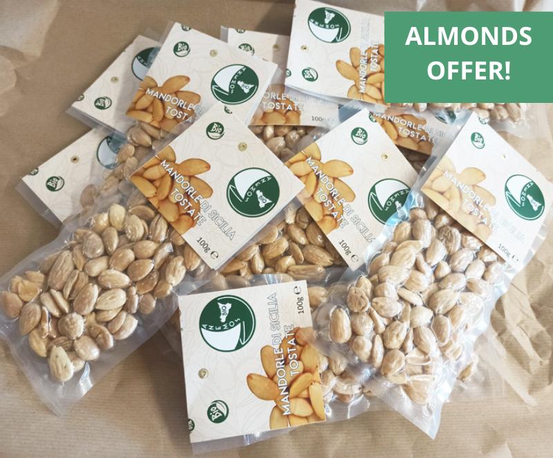 Organic roasted sicilian almonds offer